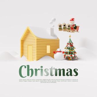 Weihnachts-social-media-post-vorlage mit haus im schnee 3d-rendering-illustration
