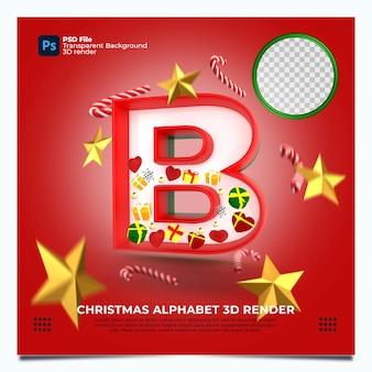 Weihnachtsalphabet b 3d render mit rot-grün-goldenen farben und elementen