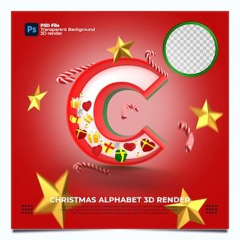Weihnachtsalphabet c 3d render mit rot-grün-goldenen farben und elementen