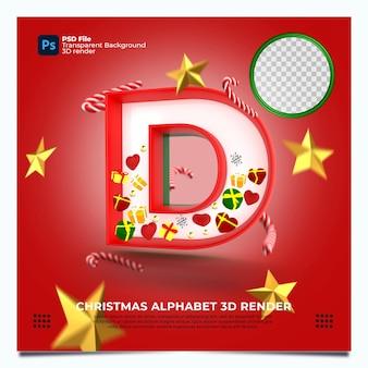 Weihnachtsalphabet d 3d render mit rot-grün-goldenen farben und elementen