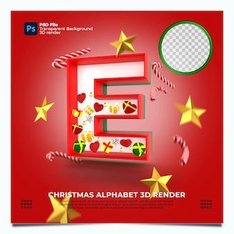 Weihnachtsalphabet e 3d render mit rot-grün-goldenen farben und elementen