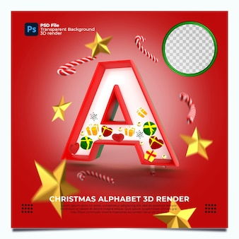 Weihnachtsalphabet ein 3d-render mit rot-grün-goldenen farben und elementen