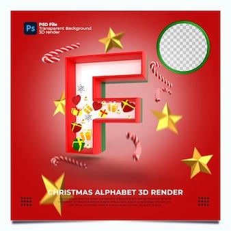 Weihnachtsalphabet f 3d render mit rot-grün-goldenen farben und elementen