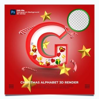 Weihnachtsalphabet g 3d render mit rot-grün-goldenen farben und elementen