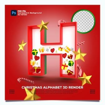 Weihnachtsalphabet h 3d render mit rot-grün-goldenen farben und elementen