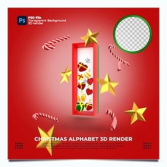 Weihnachtsalphabet i 3d render mit rot-grün-goldenen farben und elementen