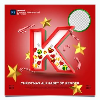 Weihnachtsalphabet k 3d render mit rot-grün-goldenen farben und elementen