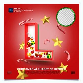 Weihnachtsalphabet l 3d render mit rot-grün-goldenen farben und elementen