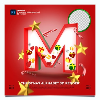 Weihnachtsalphabet m 3d render mit rot-grün-goldenen farben und elementen