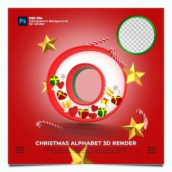 Weihnachtsalphabet o 3d render mit rot-grün-goldenen farben und elementen