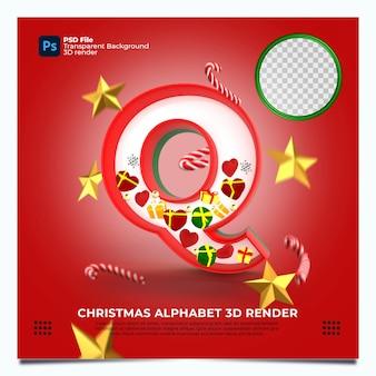 Weihnachtsalphabet q 3d render mit rot-grün-goldenen farben und elementen