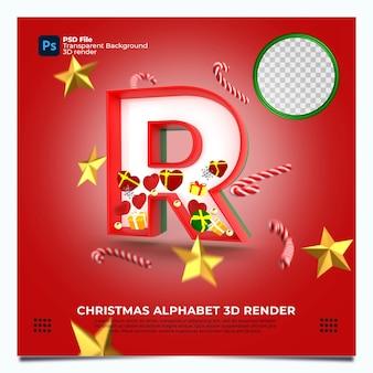 Weihnachtsalphabet r 3d render mit rot-grün-goldenen farben und elementen