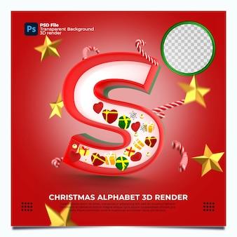 Weihnachtsalphabet s 3d render mit rot-grün-goldenen farben und elementen