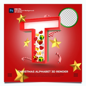 Weihnachtsalphabet t 3d render mit rot-grün-goldenen farben und elementen