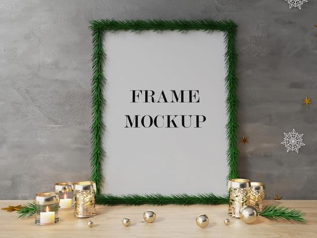Weihnachtsbaum bilderrahmen neben kerzen 3d rendering modell