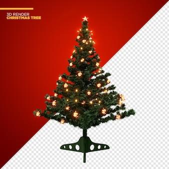 Weihnachtsbaum mit lichtern und ornamenten 3d render isolated