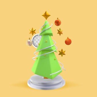 Weihnachtsbaum mit sternen. 3d-rendering
