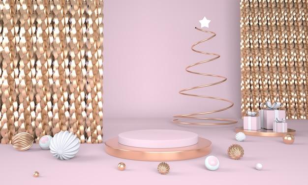 Weihnachtsbaum und bühne für produktanzeige im 3d-rendering