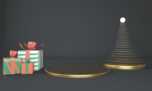 Weihnachtsbaum- und bühnen-3d-rendering