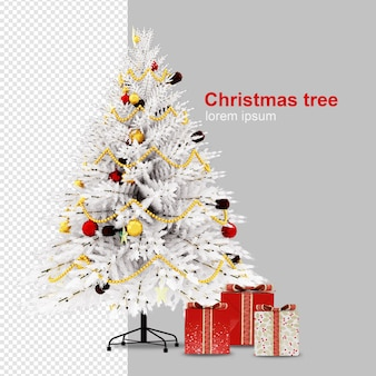 Weihnachtsbaum und geschenkbox im 3d-rendering