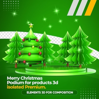 Weihnachtsbaum und podium für produkte 3d-rendering