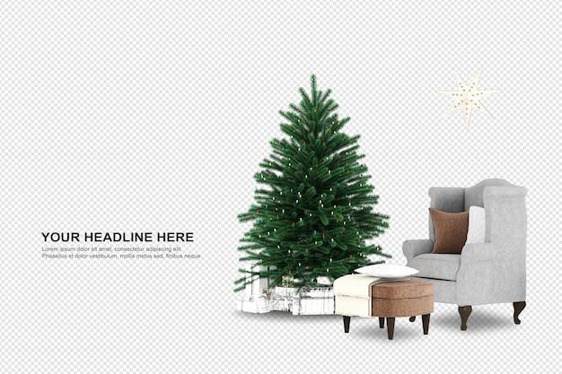 Weihnachtsbaum und sessel im 3d-rendering