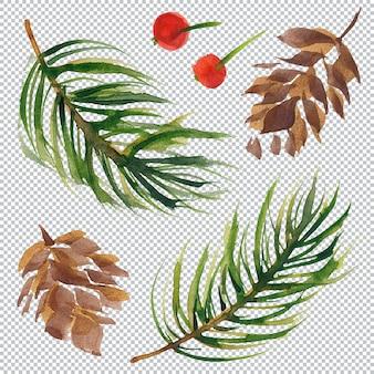 Weihnachtsblumenbündel mit tannenbaum und kegel und stechpalmebeere aquarellelemente geschichtete kunst