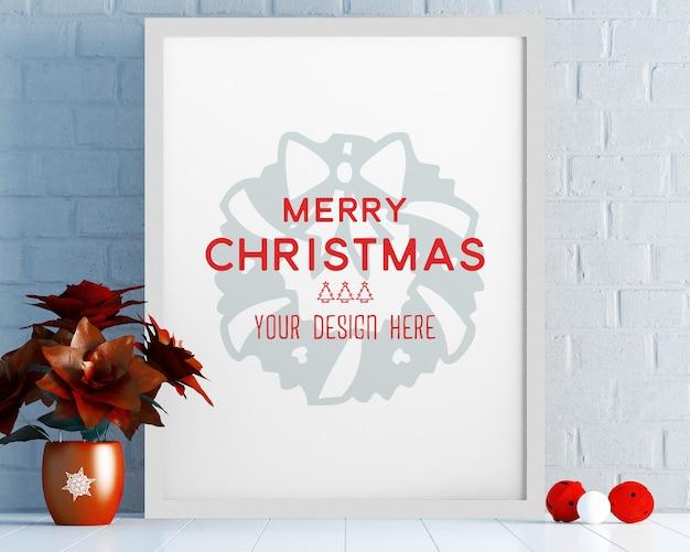 Weihnachtsdekoration mit bilderrahmenmodell