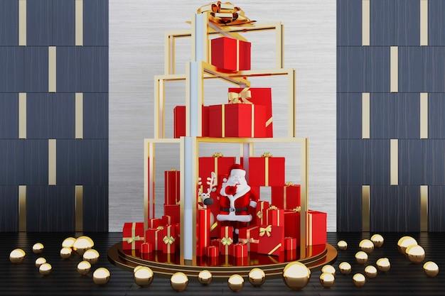 Weihnachtsdekoration mit großer geschenkbox