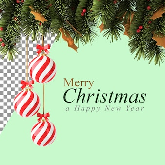 Weihnachtsdekorationen mit der roten kugel und den kiefernzweigen in der 3d-illustration