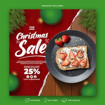 Weihnachtsessenmenü-social-media- und instagram-post-vorlage