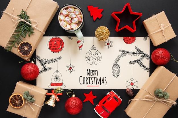 Weihnachtsfeier eine tabelle mit draufsicht