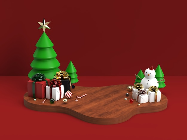 Weihnachtsfeier und neujahrs-3d-bühnenszenenmodell