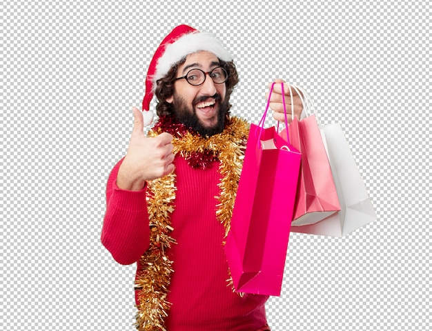 Weihnachtsferien des jungen mannes. emotionen und konzepte ausdrücken