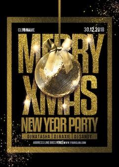 Weihnachtsfest flyer vorlage in gold & schwarz