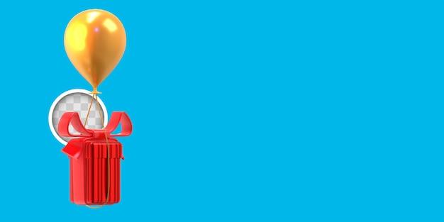 Weihnachtsgeschenk mit ballon. 3d-rendering
