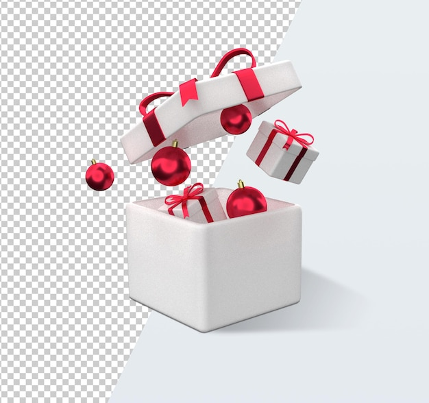 Weihnachtsgeschenkbox-karikatur-3d-rendering isoliert
