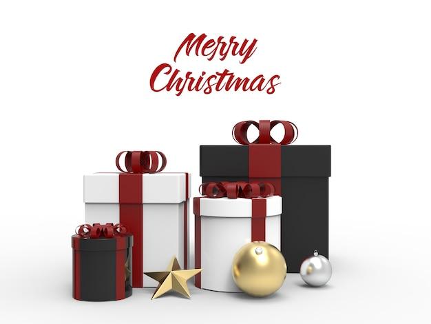 Weihnachtsgeschenkbox mit kugeln und sternmodell