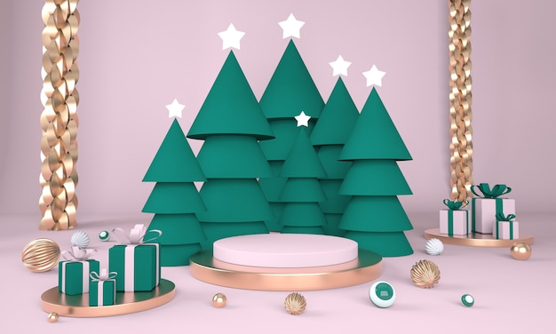 Weihnachtshintergrund mit weihnachtsbaum und bühne für produktanzeige im 3d-rendering