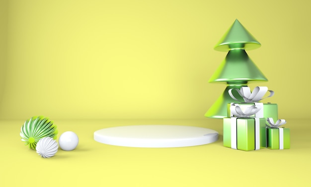 Weihnachtshintergrund mit weihnachtsbaum und bühne für produktanzeige