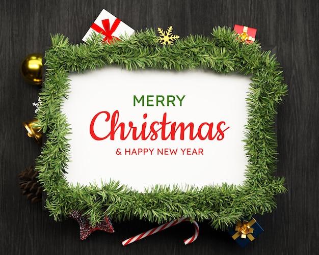 Weihnachtshintergrund und -dekor mit leerem fotorahmen