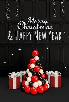 Weihnachtsillustration mit weihnachtsbaum- und geschenkboxillustration