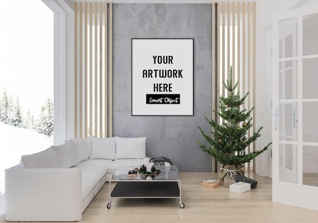 Weihnachtsinnenraum mit vertikalem rahmenmodell