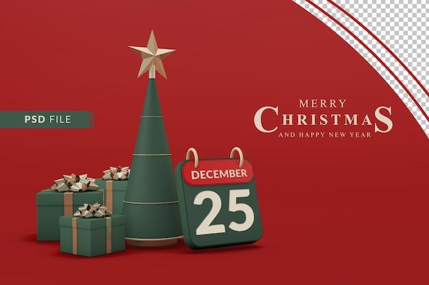 Weihnachtskalenderschablone mit weihnachtsbaum und geschenkbox