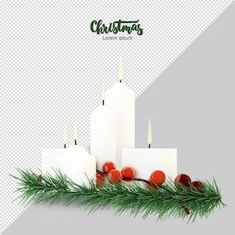 Weihnachtskerzen mit kiefernbrahches in der 3d-darstellung isoliert
