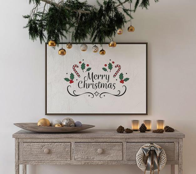 Weihnachtskonzeptdekoration mit modellplakatrahmen