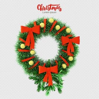 Weihnachtskranz 3d rendering isoliert