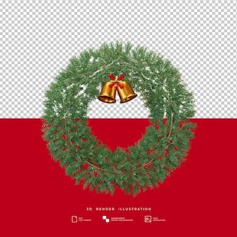 Weihnachtskranz mit goldener glocke 3d-darstellung