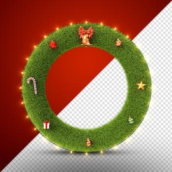 Weihnachtskranz mit ornamenten isoliert 3d render