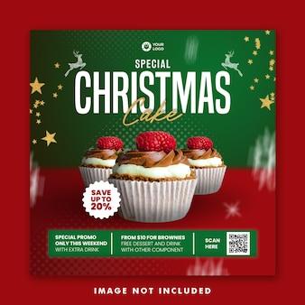 Weihnachtskuchen essen menü social media post square banner vorlage